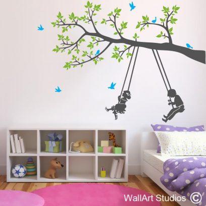 swing swing stickers. swinging kids, kids swinging, wall art studios, tree stickers