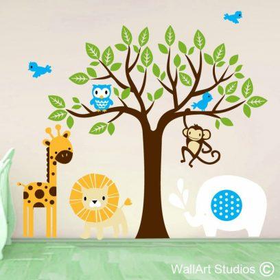 wild animals, safari decals, nursery decal, wall art stickers, giraffe, elephant, lion, owl, birds, tree, leaves, nature, wild, monkey,