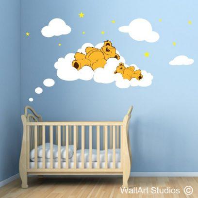 sleepy teddys, clouds, stars, nursery wall art stickers, nursery decals, cute , boys, girls,
