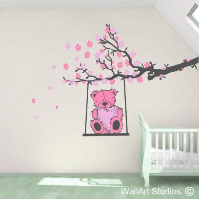 teddy bear swing, wall art stickers, nursery decals, boys , girls, cute, baby,