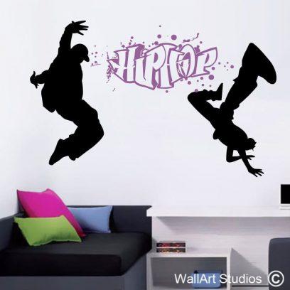 hip hop wall art sticker, dance wall art decal, break dancing wall art sticker,