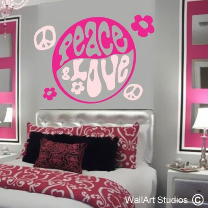 peace and love wall art sticker, peace wall art decals, love wall art decals,