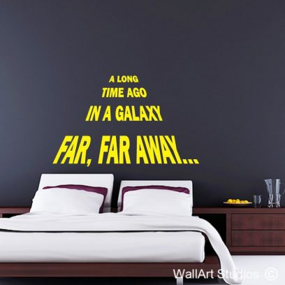 star wars wall art sticker, star wars decals, star wars movie opening, a long time ago in a galaxy far far away,