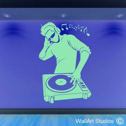 mr DJ wall art sticker, dj wall decals, music wall art stickers,
