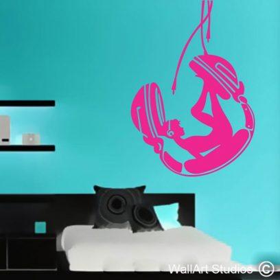 music swing wall art sticker, music decals, headphone wall art