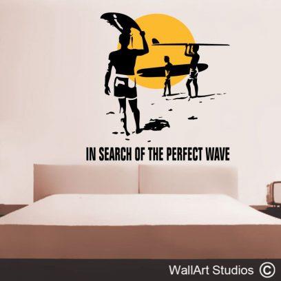 endless summer wall art sticker, beach wall art decal, surfer wall art sticker,