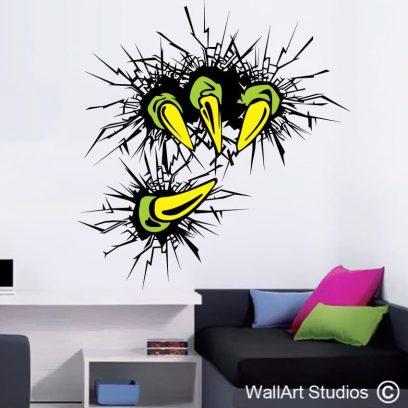 monster claws wall art stickers, monster wall art decals, boys rooms wall art,