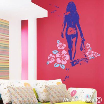 beach babe, beach wall art stickers, girl walking wall art decal, vinyl stickers, flowers wall art murals