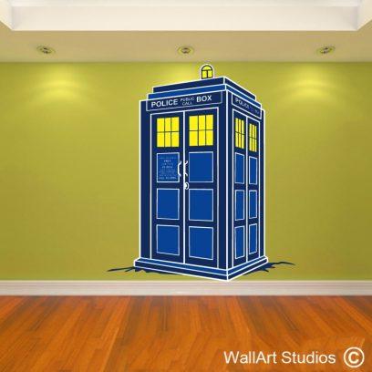 Tardis Wall Decal, wall art stickers, tardis wall decal, dr who wall art vinyl sticker, blue tardis dr who