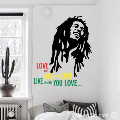 bob marley wall art sticker, bob marley decals, famous music singers, music wall art decals