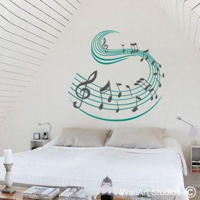 music swish, wall art studios, wall art decals, music notes,