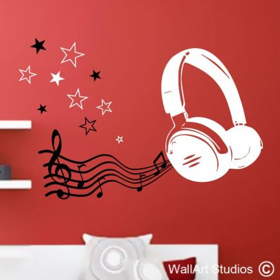 musical headphones, music notes, stars, wall art stickers, decals,