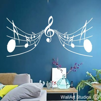 musical notes, wall art stickers, music decal,