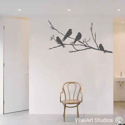 birds on a blossom branch wall art sticker, birds sitting wall art decal, birds and branch wall art vinyl, branch decals, bird decals,