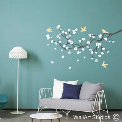 apple blossom branch wall art, apple blossoms decals, blossom wall stickers, little birds with blossoms wall decals