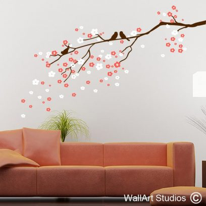 NF21 Delicate Blossom Branch decal, wall murals, home decor, flowers, floral, birds, branches, blowing blossoms, home decor , interior design