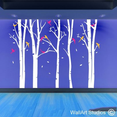 winter forest with birds wall art stickers, tree wall art decals, forest with birds leaves falling wall art decal