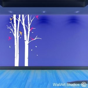 winter forest, wall art, forest wall decal