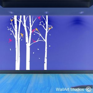 winter forest wall sticker, wall art, tree wall tattoos