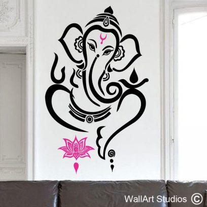 Ganesha wall art sticker, Ganesha Decal, Ganesha Sticker, Hindu God Decal, Ganesh Decal, Lord Of Success, Spiritual Wall Decal, Religious Sticker, Elephant Wall Decal, Ganesh Vinyl Sticker