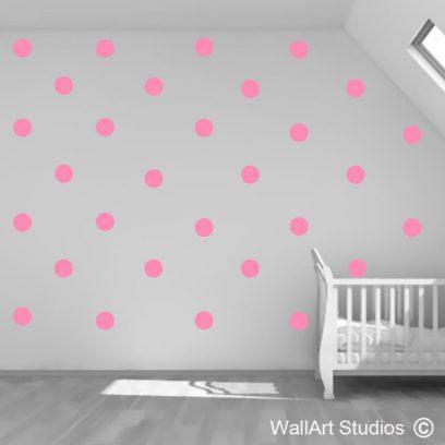 polka dots, polka dot wall art stickers, dot vinyl stickers, polka dot murals,