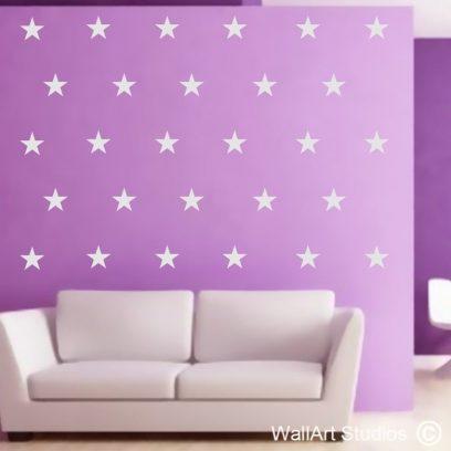stars wall art sticker, wall art decal, repeat pattern ,