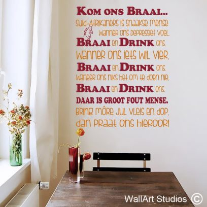 Kom ons braai,afrikaans,muurplakkers,braai,suid afrikaners,kaapstad,bier, braai, wall tattoos, pub decor. morph, la linea