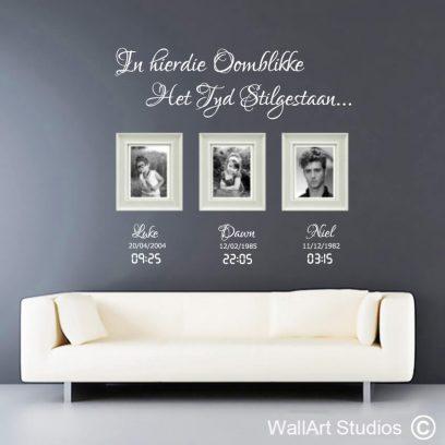 familie oomblikke, tyd, stilgestaan, muurplakker, afrikaans wall decal, sticker, plakker, vinyl, removable, photo's, family, wall art, custom
