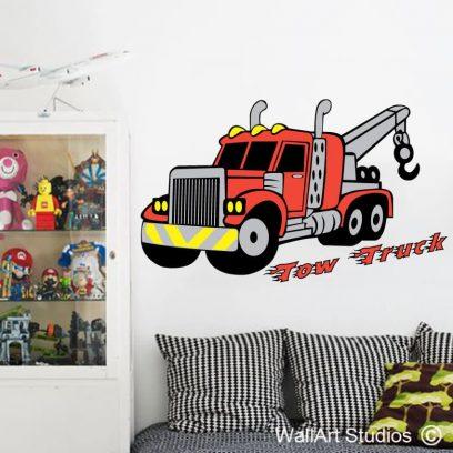 tow truck wall art sticker decal boys room