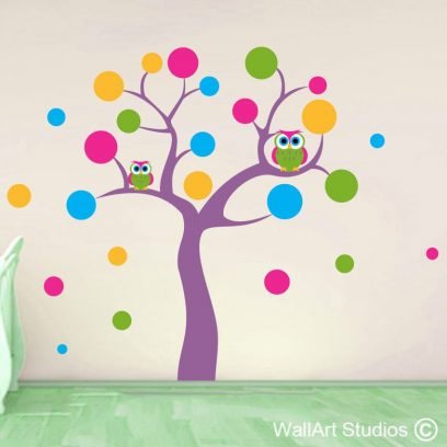 polka dot owl tree, polka dots, owls, girls nursery, tree,twirly, wall art,stickers decal sticker