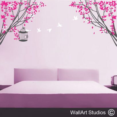 Fly Away Tree with birds and cage wall art sticker