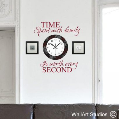 time spent with family, wall art stickers, decals, family decals, clock,