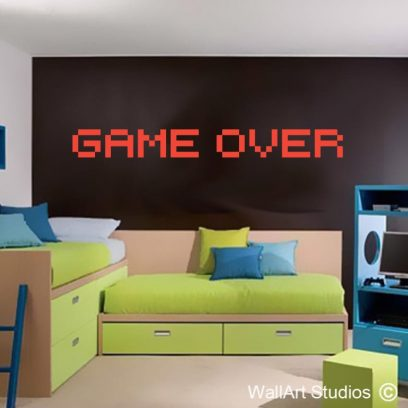 game over gamers gaming wall art decals stickers