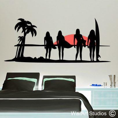surfer girls,beach, girls, surfers, wall art, sticker,decals, custom,surf,waves,sunset