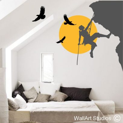 rock climber, eagles, sports, wall art, decal, stickers, mountain, sun,climbing with eagles