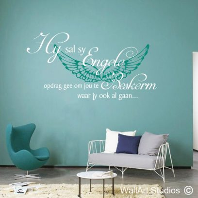 Psalm 91:11 Engele muur plakker, afrikaans wall decal, afrikaans bybel wall art stickers, home decor, wall stickers, decals, wall tattoos, religious, bible, angels, wings