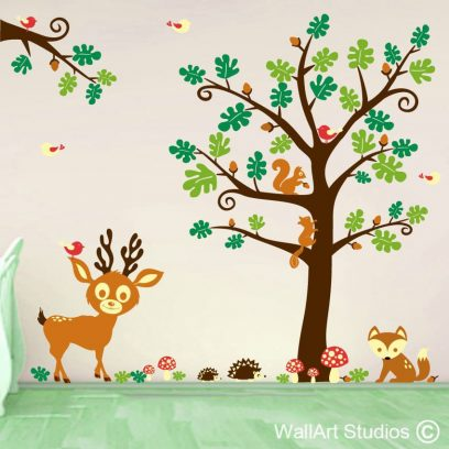 Birch Trees Wall Decal, Nursery Wall Decal, Forest Trees, Wall Decal, Animals, Owls, Squirrels, Bambi, Baboak forest animals stickers, oak tree wall art vinyl for nursery, oak forest animals for boys room, oak tree wall stickers for girls room, cute animal wall stickers for kids room
