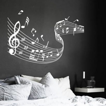 Music Notes Swirl wall art decal, music notes wall decals, music wall stickers, music wall decal, music notes swirl home decor