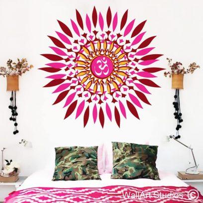 trippy mandala, mandala wall art stickers, Mandala Wall Decal, Flower Mandala Vinyl Sticker, Indian Lotus Murals, Namaste Flower Mandala, Indian Lotus, Yoga Wall Decals