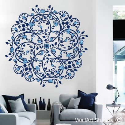 dainty delft, floral wall art stickers, patterned wall decals, pretty pattern murals, wall art stickers,