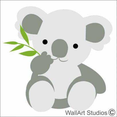 Koala Bamboo leaf wall art stickers, koala wall decal, bamboo wallart decal, koala wall decal for nursery, koala wall stickers for girls room, koala bear wall art for boys room