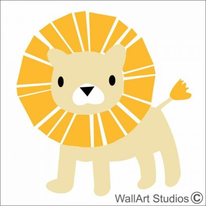 Sunshine Lion wall decal, lion decal for nursery, wild animal decals and stickers, wall art safair theme for boys room, wall art safari theme for girls room, wall stickers, lion wall decor