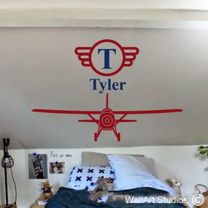 Plane and Name for boys decal, wall, art, wallart, wall art, boys room, vinyl sticker for boys, planes, plane wall art decals