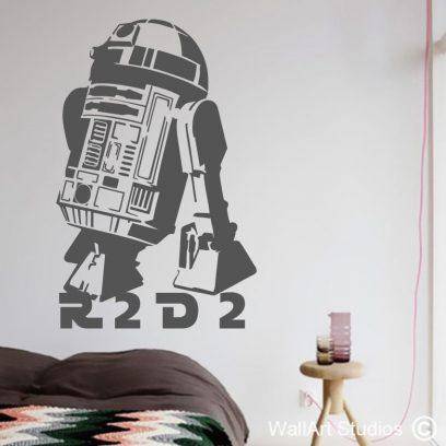 R2D2 Star Wars wall art decal, star wars vinyl sticker, star wars movie , star wars robot,