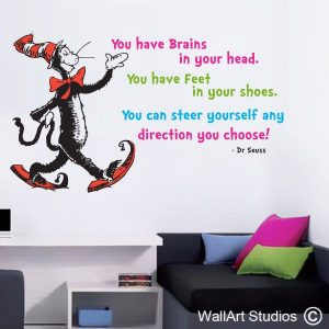 Dr Suess wall art decal, the more that you read, custom wall art, oh the places you go, dr seuss