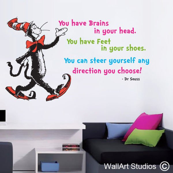 Dr Suess Wall Art Decal, The More That You Read, Custom Wall Art,