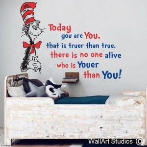 Dr Suess wall art decal, Dr Seuss wall stickers, you are youer than you wall art