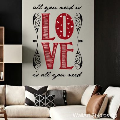 All you need is Love wall decal, love wall art design, beatles wall art stickers, cusotm wall art, vinyls decals, removable wall stickers