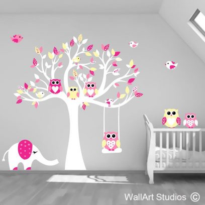 Owl tree with Elephant polka dot leaves wall art decal, wall art stickers for boys nursery, wall art decals for girls nursey