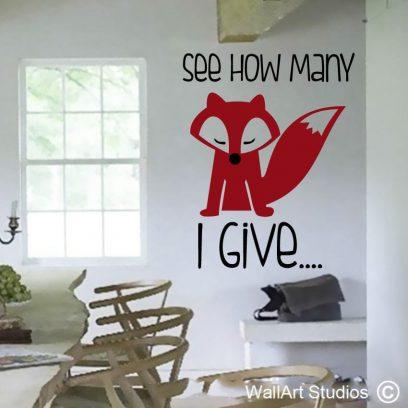 See How Many Fox I give fun wall decal, fox wall art stickers, funky fox designs, retro fox wall art, foxy wall decals, custom wall art vinyls, removable wall stickers